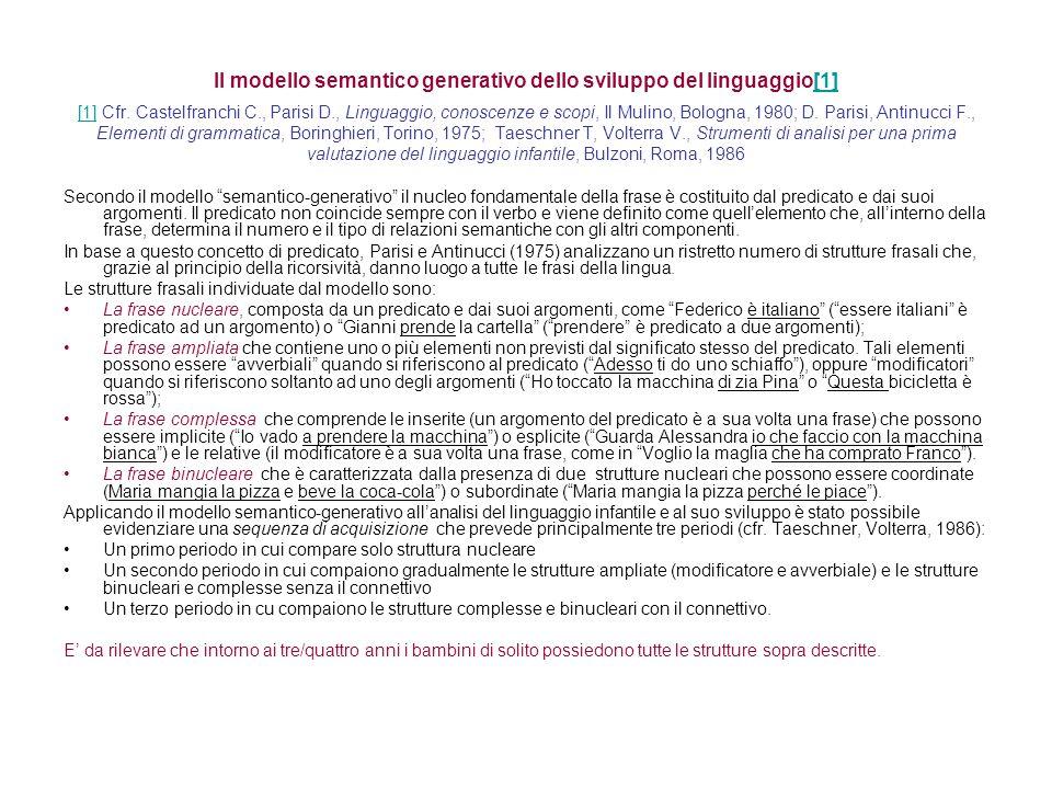 Il modello semantico generativo dello sviluppo del linguaggio[1] [1] Cfr. Castelfranchi C., Parisi D., Linguaggio, conoscenze e scopi, Il Mulino, Bologna, 1980; D. Parisi, Antinucci F., Elementi di grammatica, Boringhieri, Torino, 1975; Taeschner T, Volterra V., Strumenti di analisi per una prima valutazione del linguaggio infantile, Bulzoni, Roma, 1986